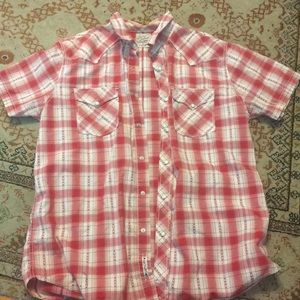 Lucky Brand xl red plaid western shirt